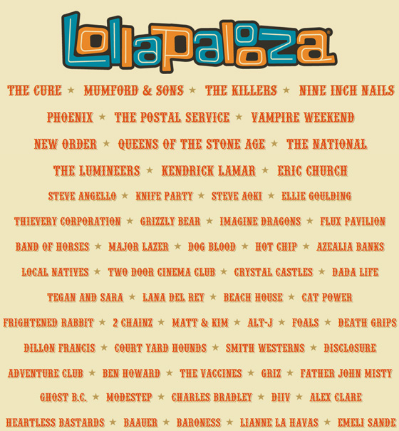 lollapalooza releases 2013 schedule set times fake shore drive. Black Bedroom Furniture Sets. Home Design Ideas